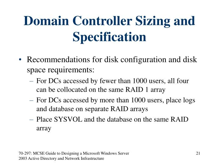 Domain Controller Sizing and Specification