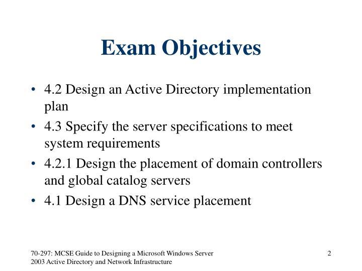 Exam Objectives