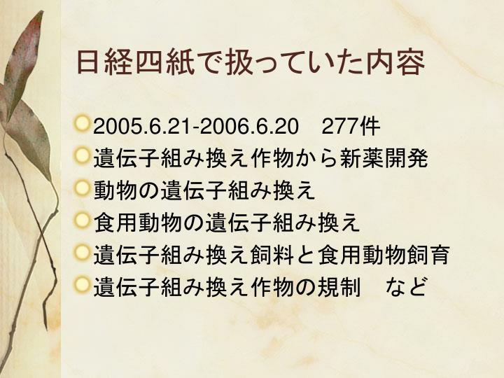 日経四紙で扱っていた内容
