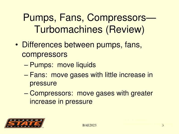 Pumps, Fans, Compressors—Turbomachines (Review)
