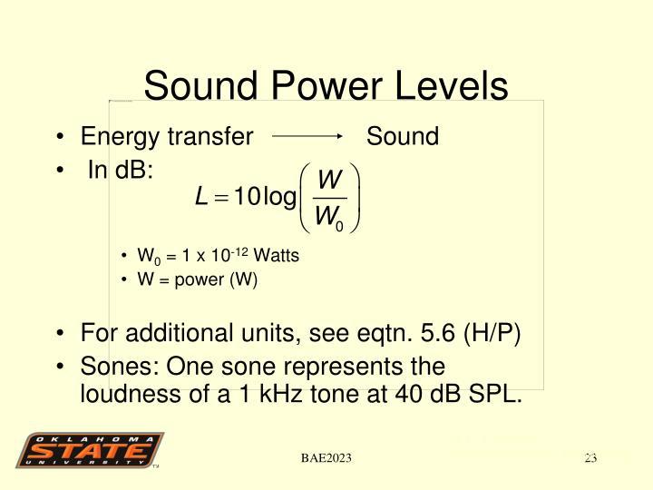 Sound Power Levels
