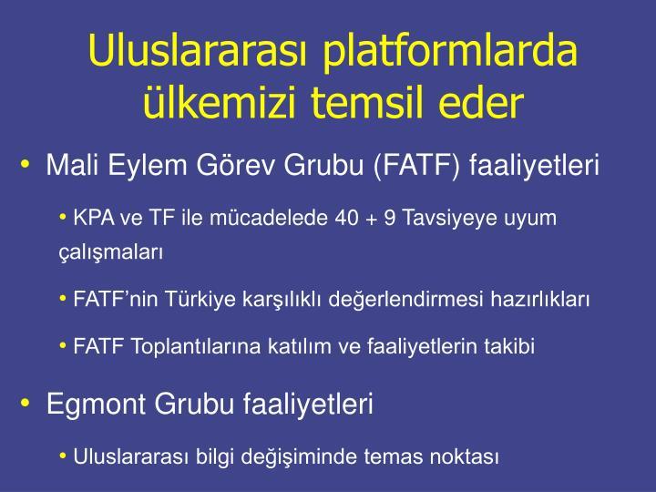 Uluslararası platformlarda ülkemizi temsil eder