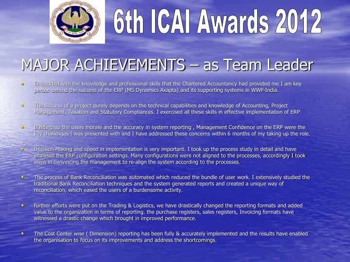 MAJOR ACHIEVEMENTS – as Team Leader