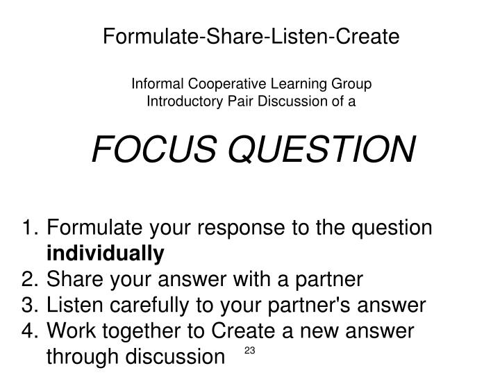 Formulate-Share-Listen-Create