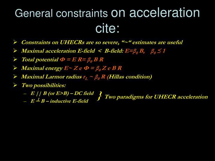 General constraints