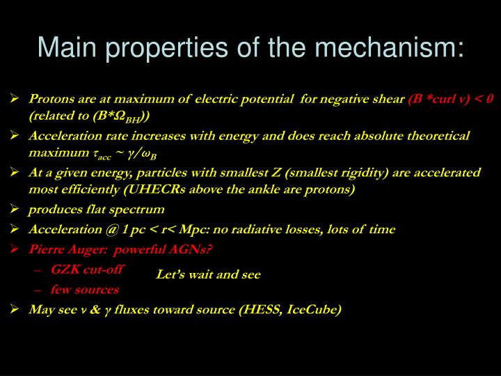 Main properties of the mechanism: