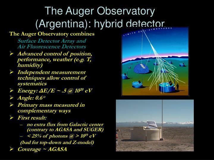 The Auger Observatory (Argentina): hybrid detector