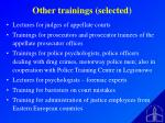 o ther trainings selected