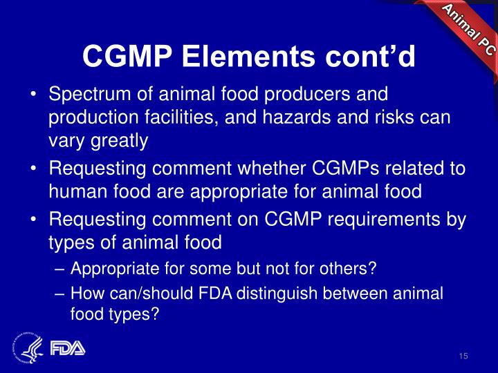 CGMP Elements cont'd