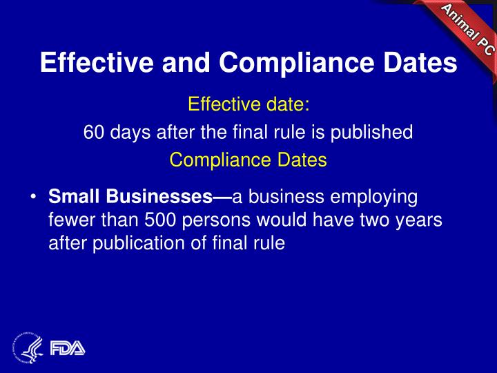 Effective and Compliance Dates
