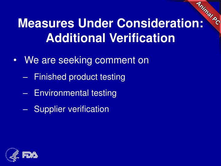 Measures Under Consideration: Additional Verification
