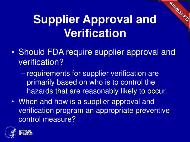 Supplier Approval and Verification