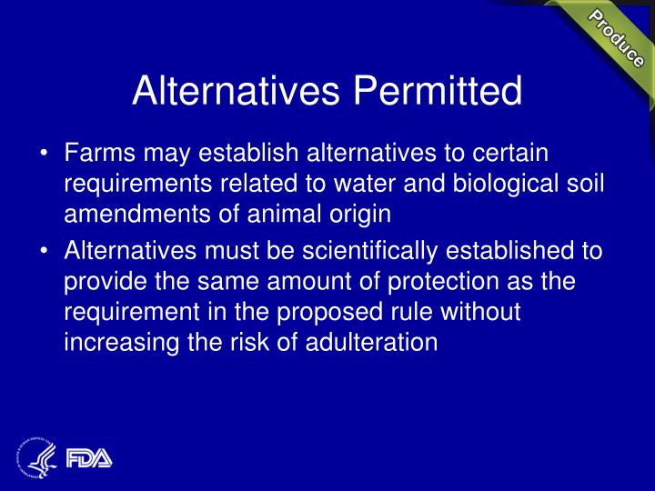 Alternatives Permitted