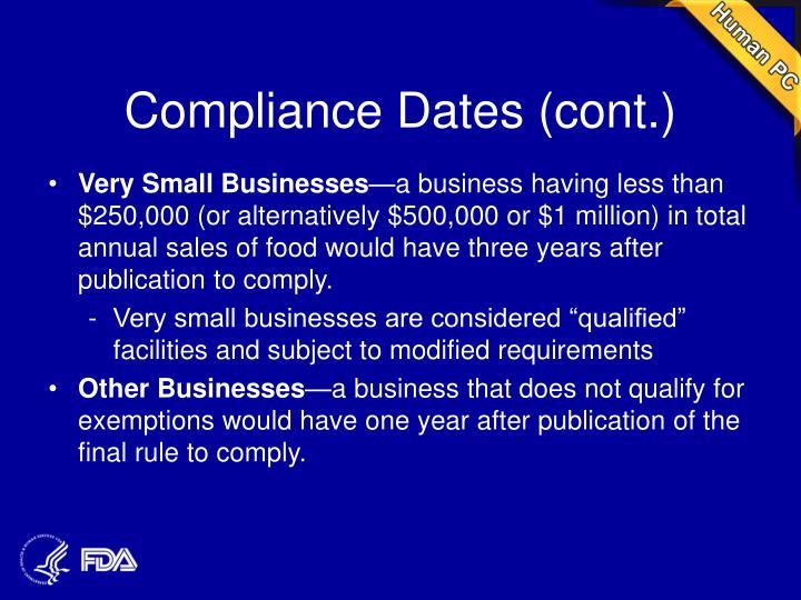 Compliance Dates (cont.)