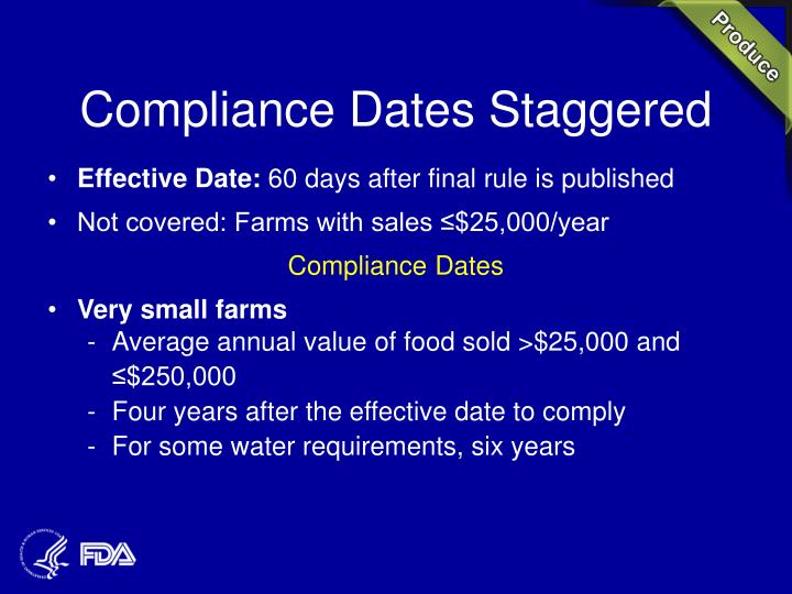 Compliance Dates Staggered