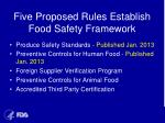five proposed rules establish food safety framework