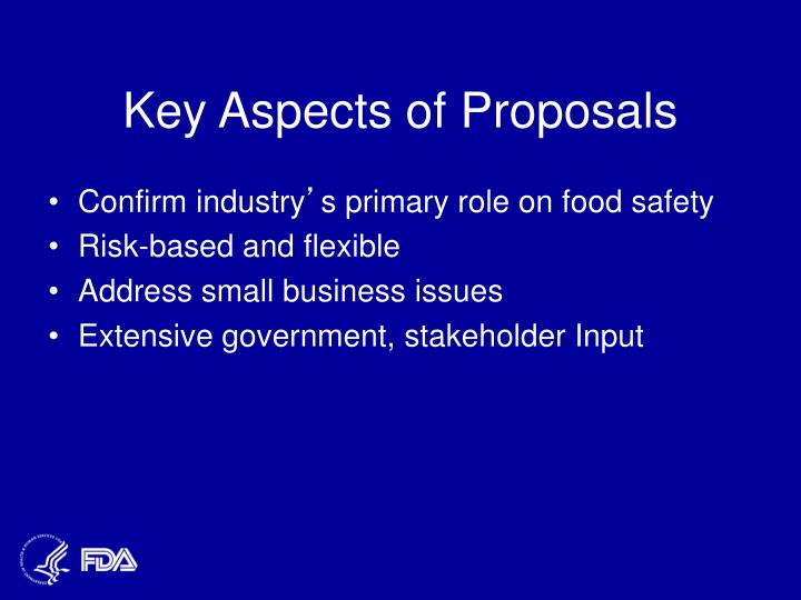 Key Aspects of Proposals