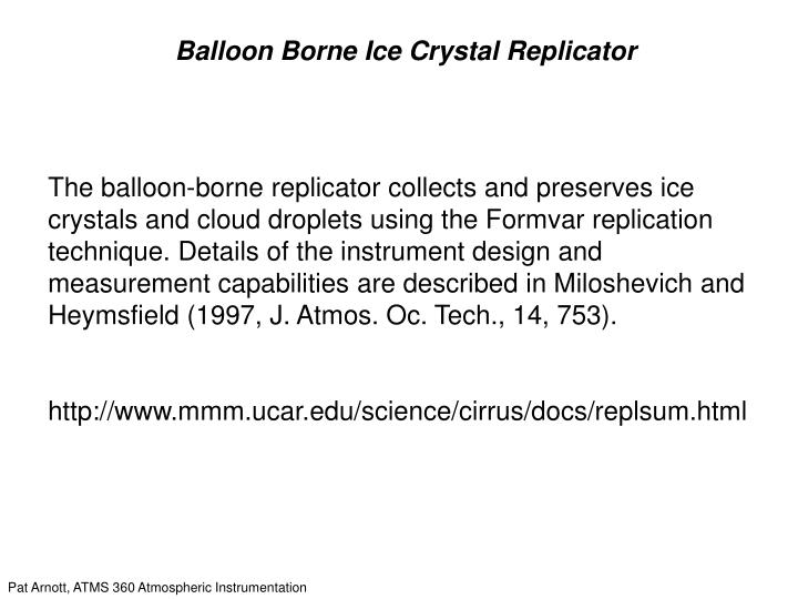 Balloon Borne Ice Crystal Replicator