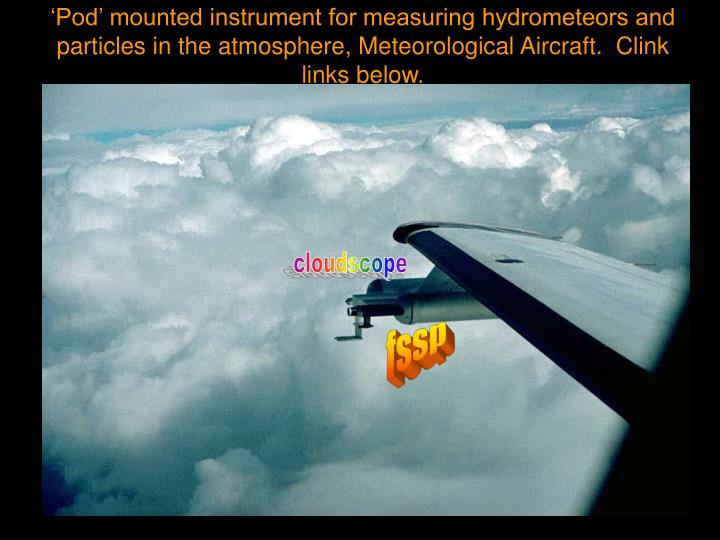 'Pod' mounted instrument for measuring hydrometeors and particles in the atmosphere, Meteorological Aircraft.  Clink links below.