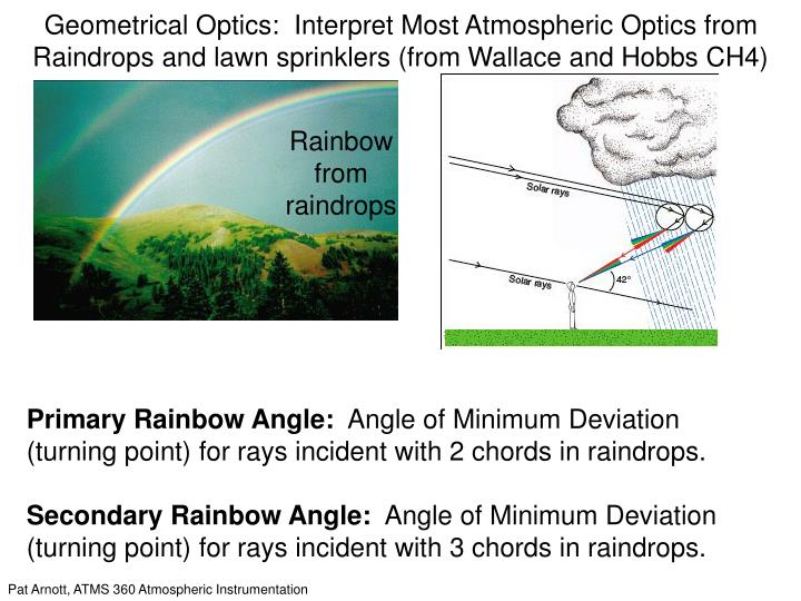 Geometrical Optics:  Interpret Most Atmospheric Optics from Raindrops and lawn sprinklers (from Wallace and Hobbs CH4)