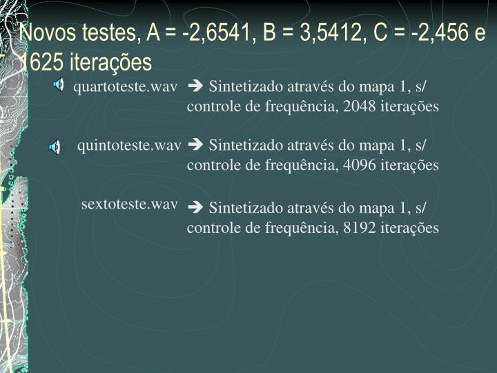 Novos testes, A = -2,6541, B = 3,5412, C = -2,456 e 1625 iterações