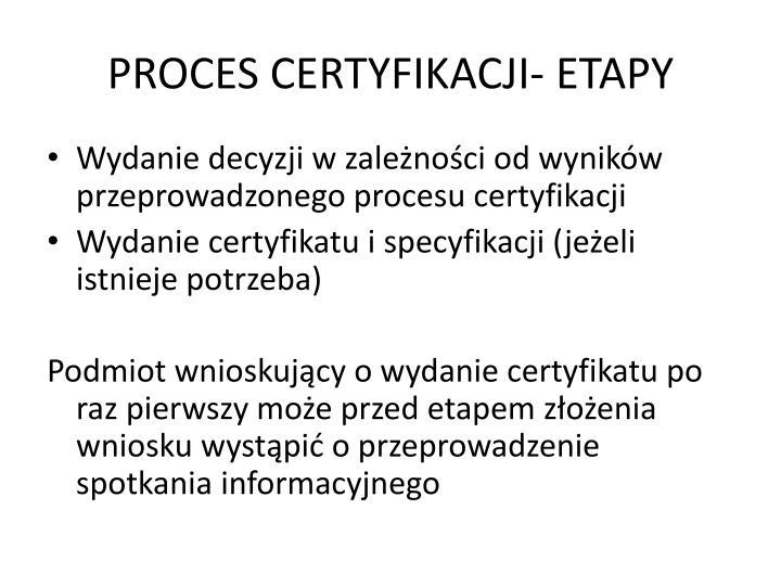 PROCES CERTYFIKACJI- ETAPY