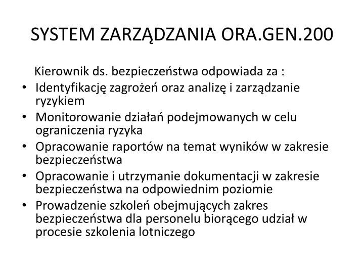 SYSTEM ZARZĄDZANIA ORA.GEN.200
