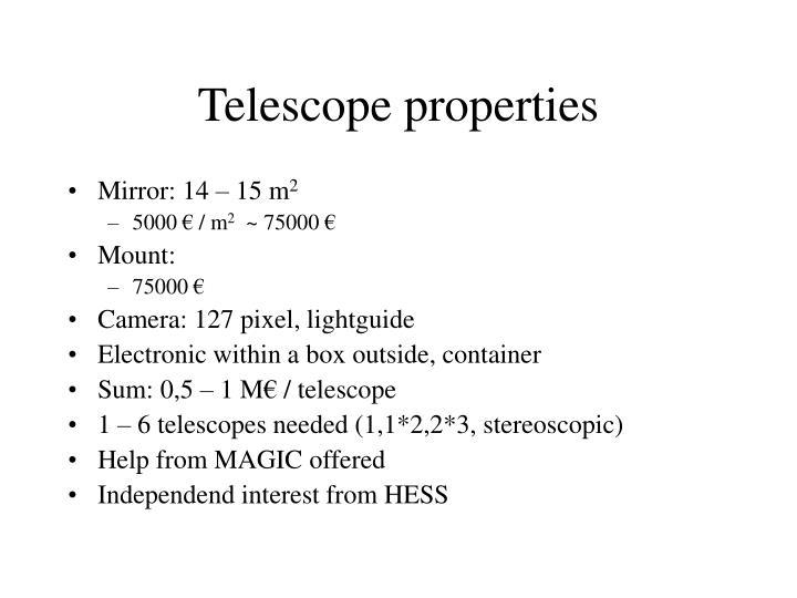 Telescope properties
