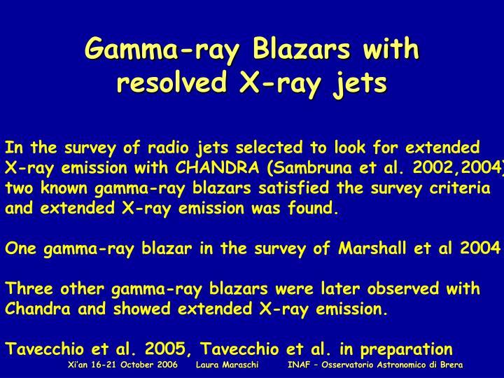 Gamma-ray Blazars with resolved X-ray jets