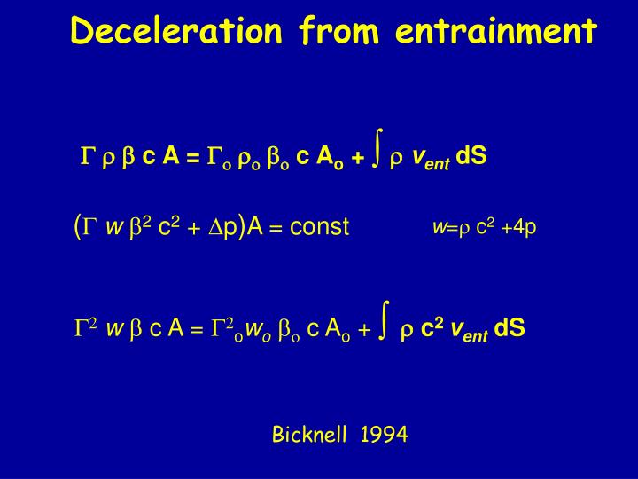 Deceleration from entrainment