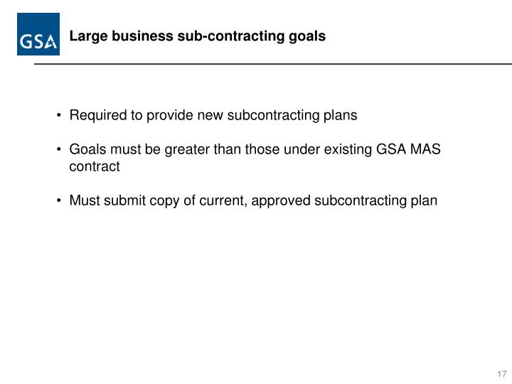Large business sub-contracting goals