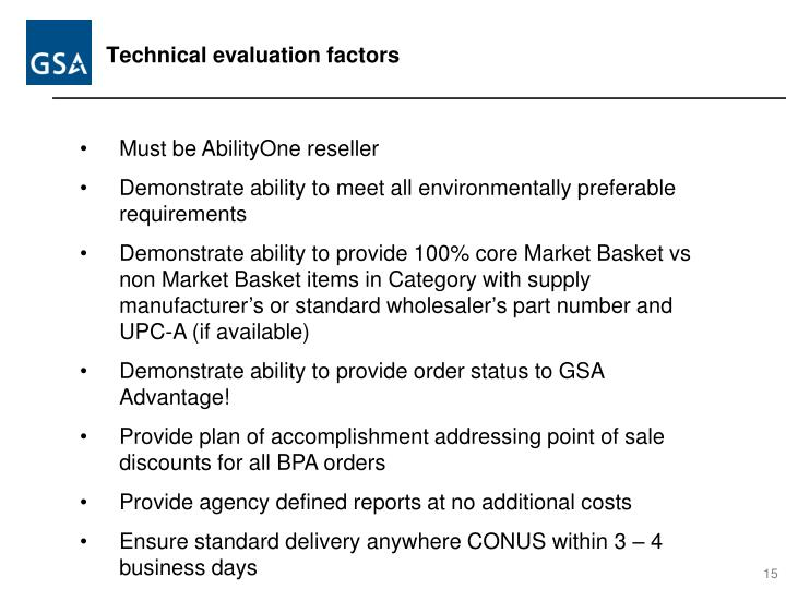 Technical evaluation factors
