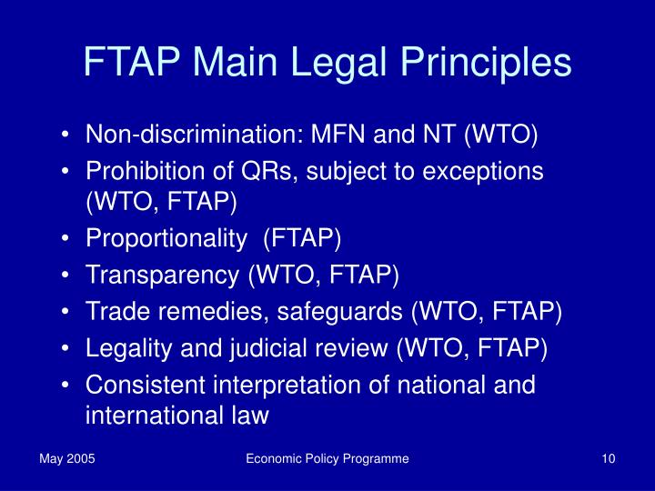 FTAP Main Legal Principles