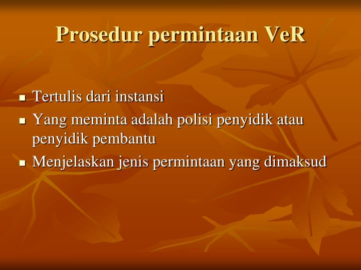 Prosedur permintaan VeR