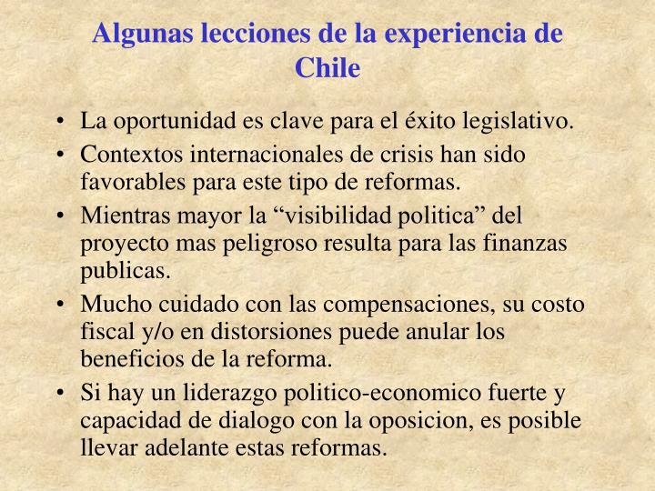 Algunas lecciones de la experiencia de Chile
