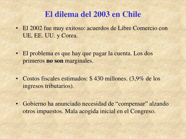El dilema del 2003 en Chile