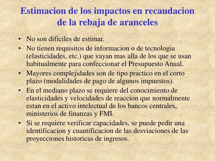 Estimacion de los impactos en recaudacion de la rebaja de aranceles