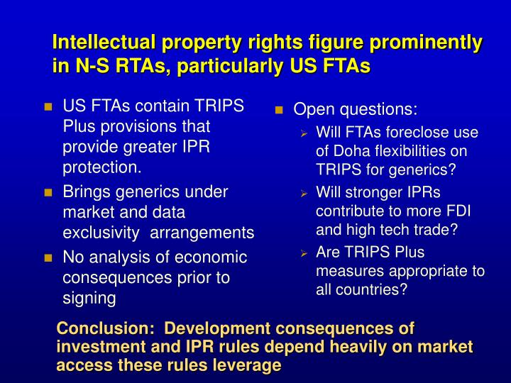 US FTAs contain TRIPS Plus provisions that provide greater IPR protection.