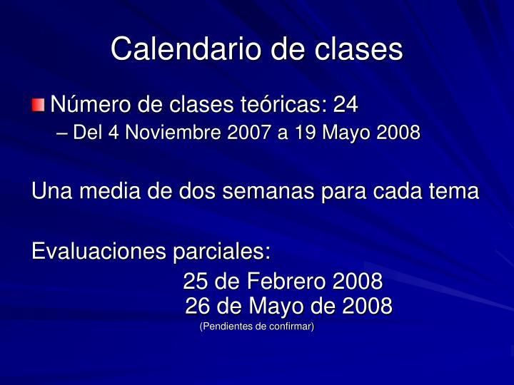 Calendario de clases