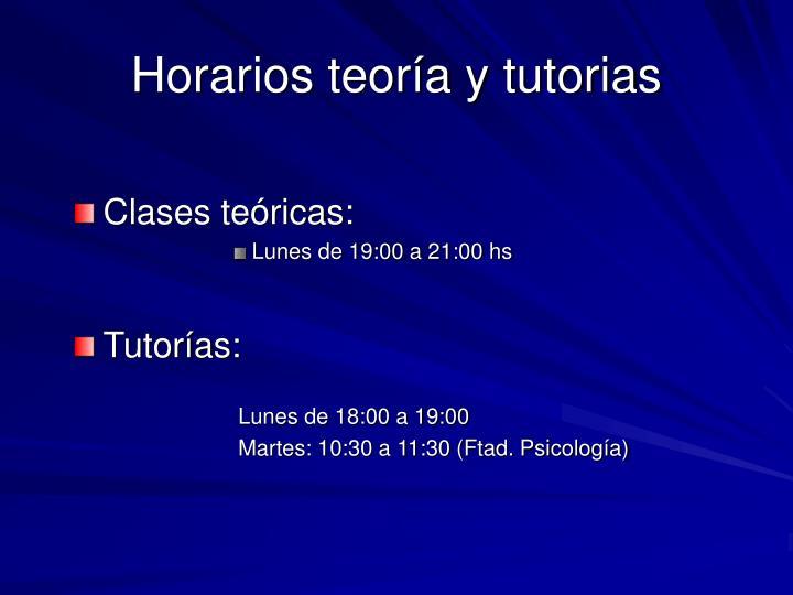 Horarios teoría y tutorias