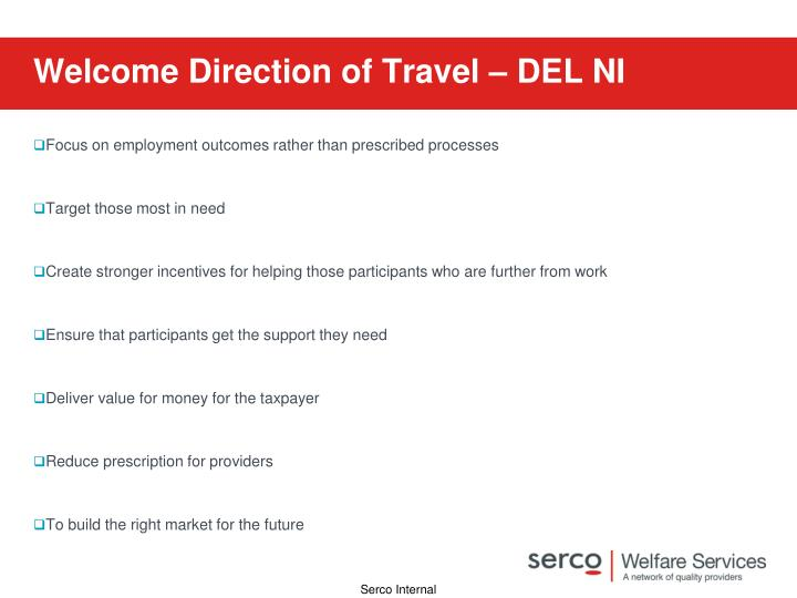 Welcome Direction of Travel – DEL NI