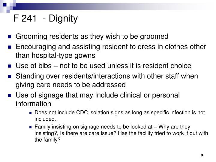 F 241  - Dignity