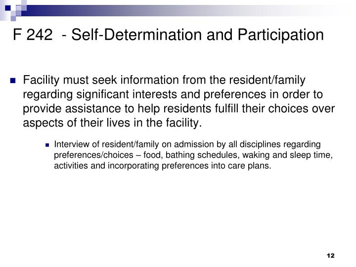 F 242  - Self-Determination and Participation
