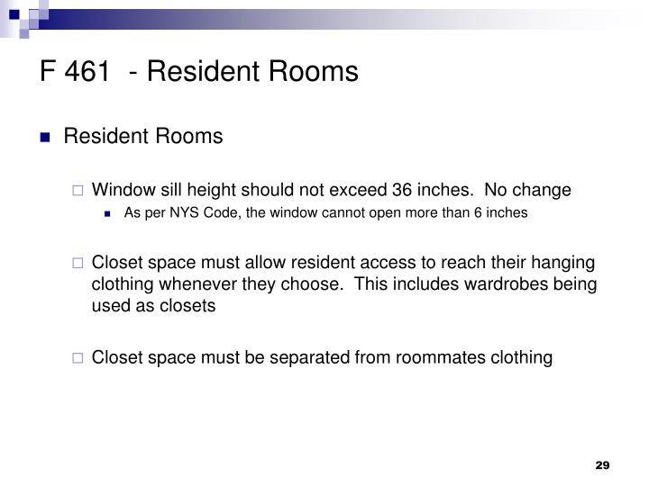 F 461  - Resident Rooms