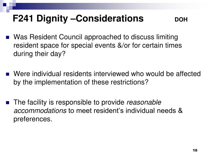 F241 Dignity –Considerations