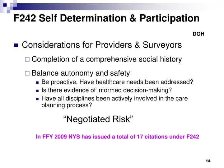 F242 Self Determination & Participation