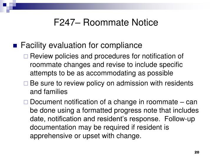F247– Roommate Notice