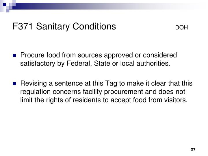 F371 Sanitary Conditions