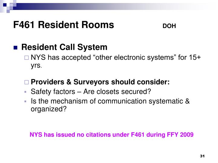 F461 Resident Rooms