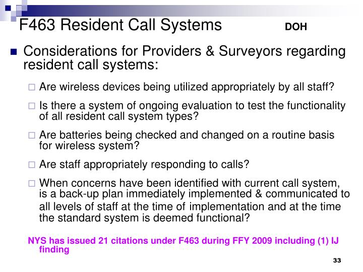 F463 Resident Call Systems